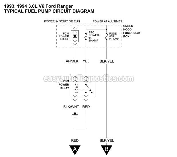 Part 1 -1993-1994 30L V6 Ranger Fuel Pump Circuit Diagram