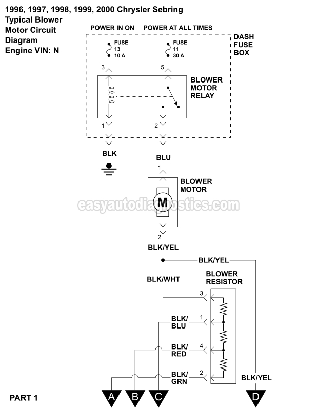 Blower Motor Wiring Diagram (1996-2000 25L V6 Sebring And Avenger)