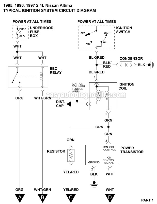Ignition System Wiring Diagram (1995-1997 24L Nissan Altima)