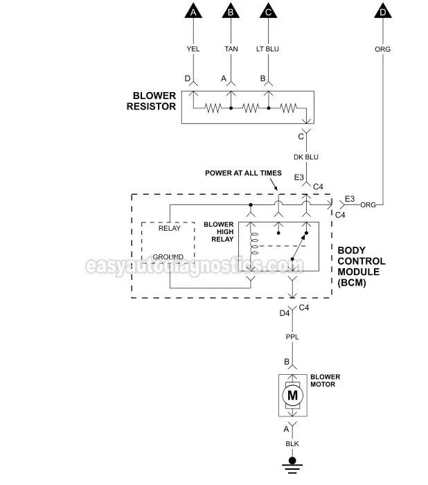Blower Motor Circuit Wiring Diagram (2006-2007 39L Chevrolet Malibu)