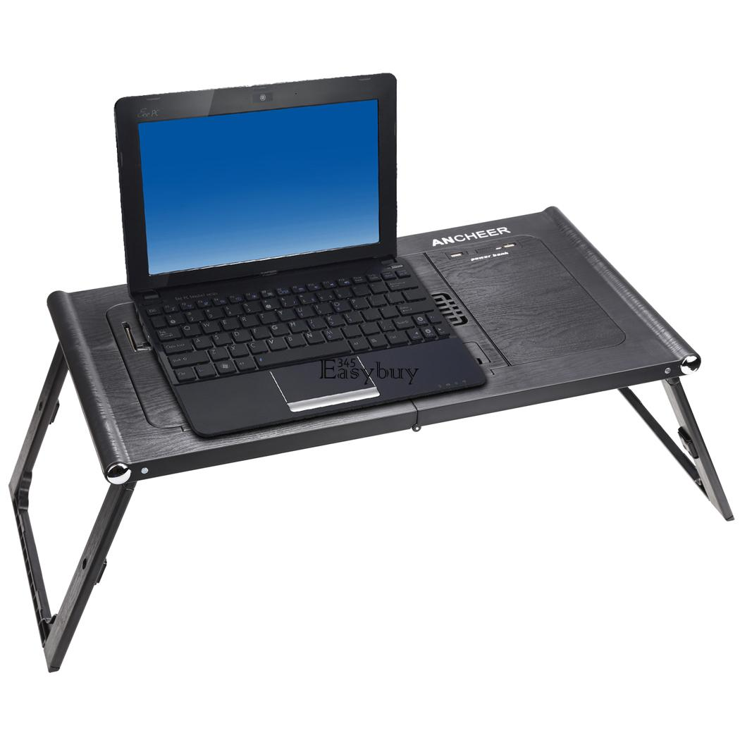 Laptop Tray For Bed Adjustable Foldable Laptop Notebook Desk Table W Fans
