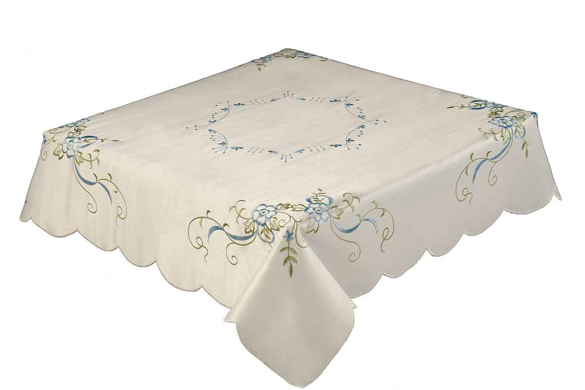 Square Tablecloth Jessica Embroidered Blue Cream Rose Tablecloth 85x85cm