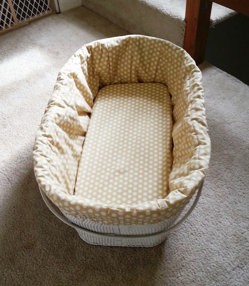 Baby Bassinet Liner New Bedding For A Vintage Bassinet – Easy Craft And Sew