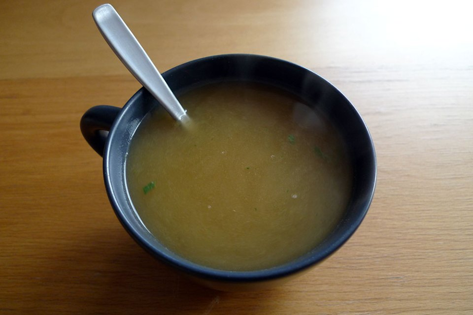 A cup of tasty instant soup is great with a sandwich on a cold, dreary day.