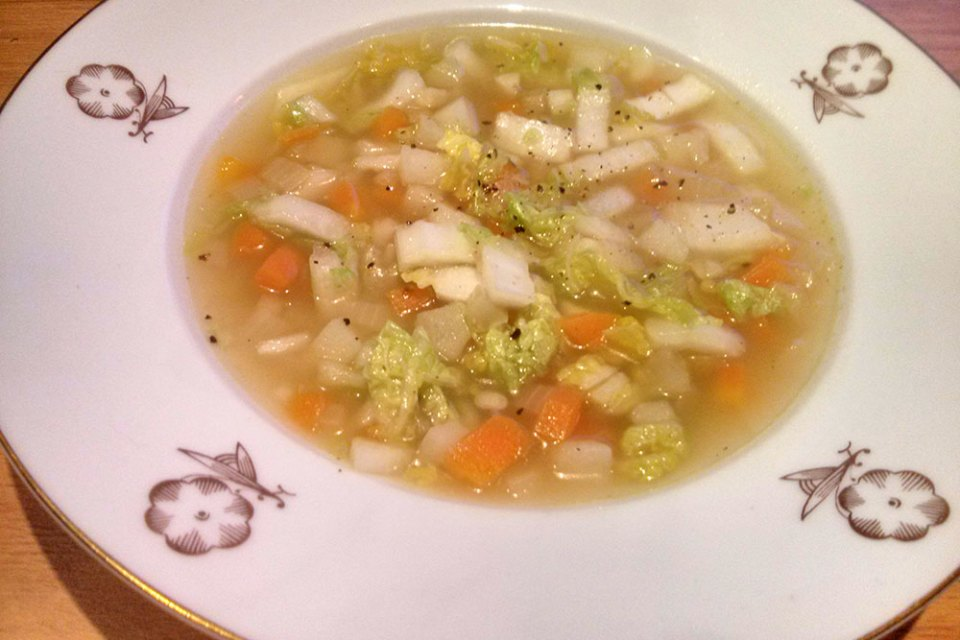 Clear winter vegetable soup.