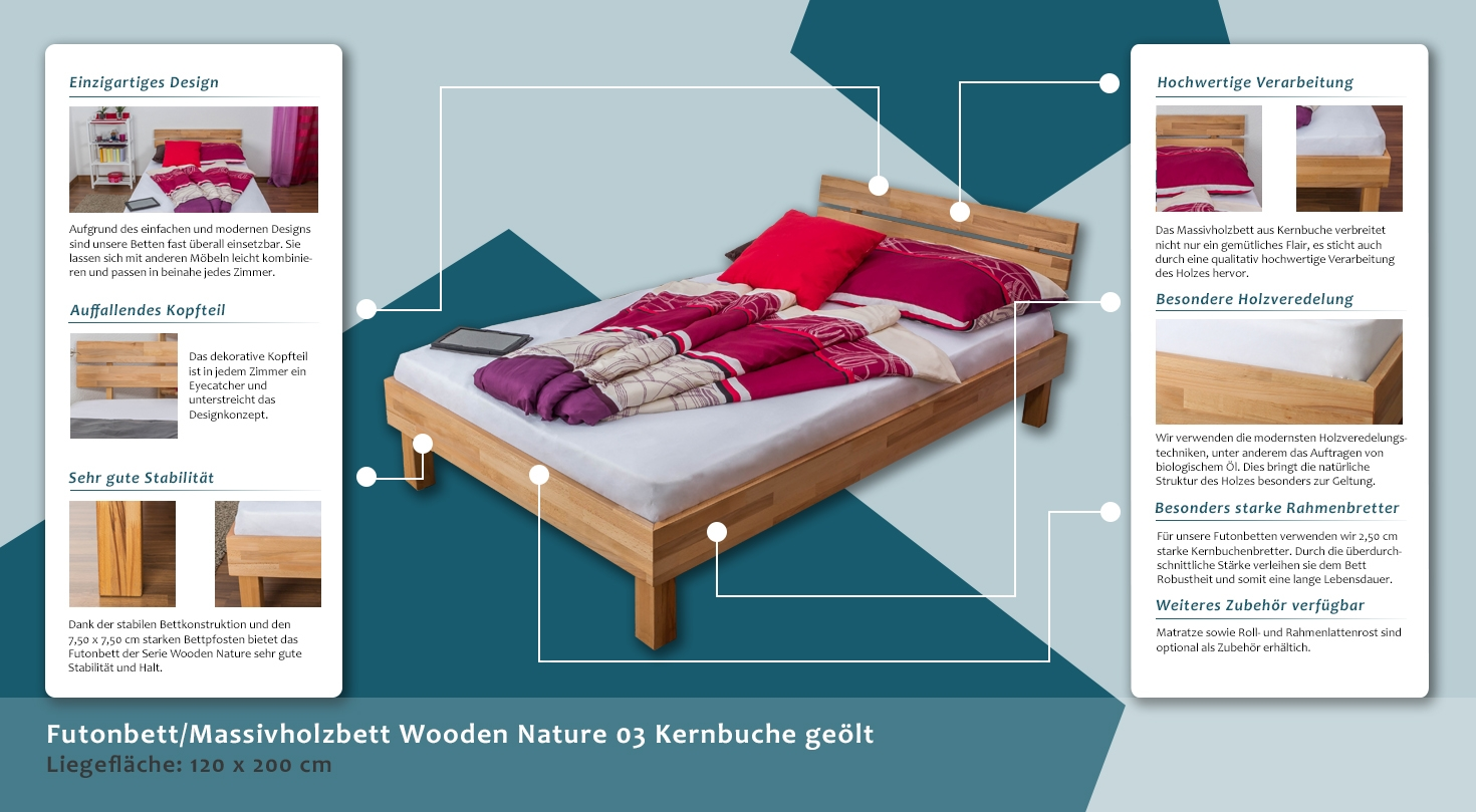 Bett 120x200 Interio Platform Bed Solid Wood Bed Wooden Nature 03 Oak Wood Oiled 120 X 200 Cm