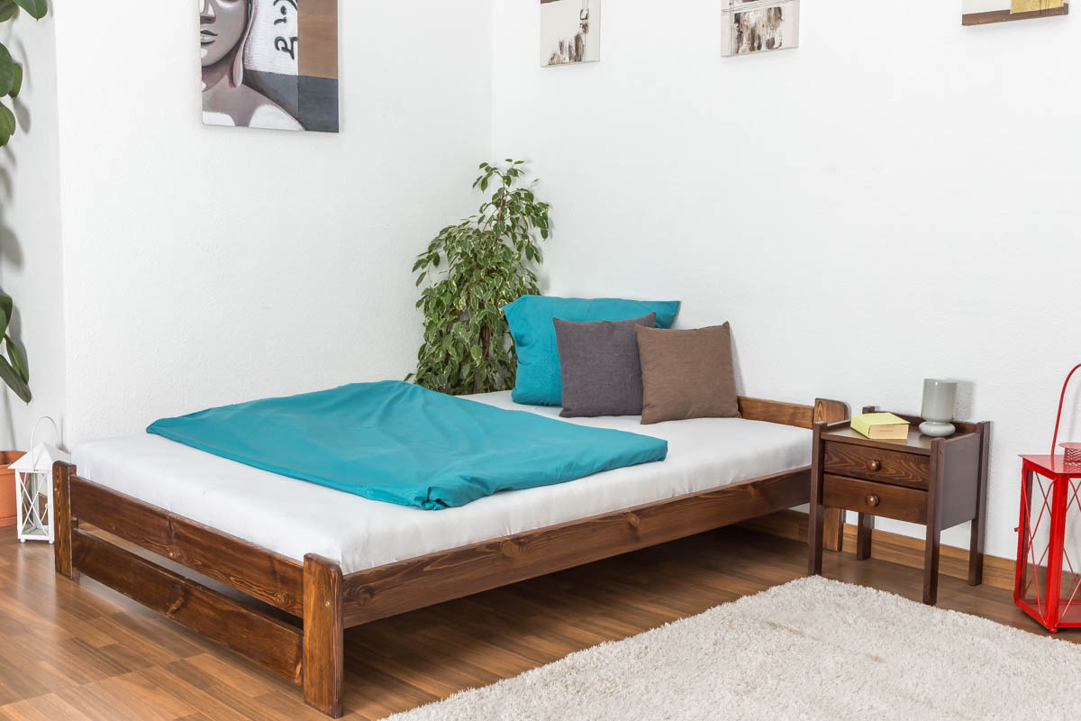 Gästebett 140x200 Single Bed Guest Bed Pine Solid Wood Nut Colored A9 Including Slats Dimensions 140 X 200 Cm