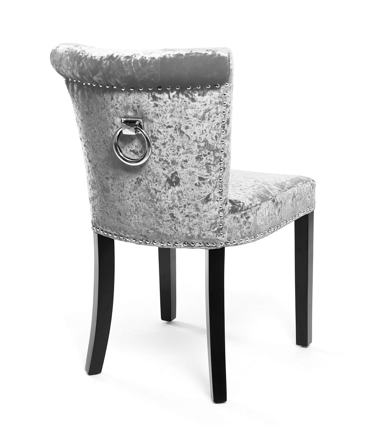 Dining Chairs With Handles On Back Regal Glam Crushed Velvet Silver Upholstered Dining Or