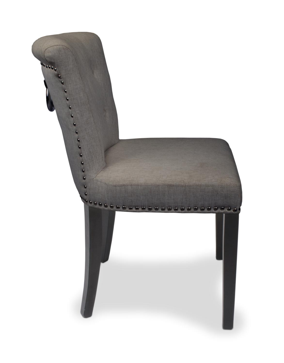 Dining Chairs With Handles On Back Regal Plush Grey Linen Style Upholstered Dining Or Accent