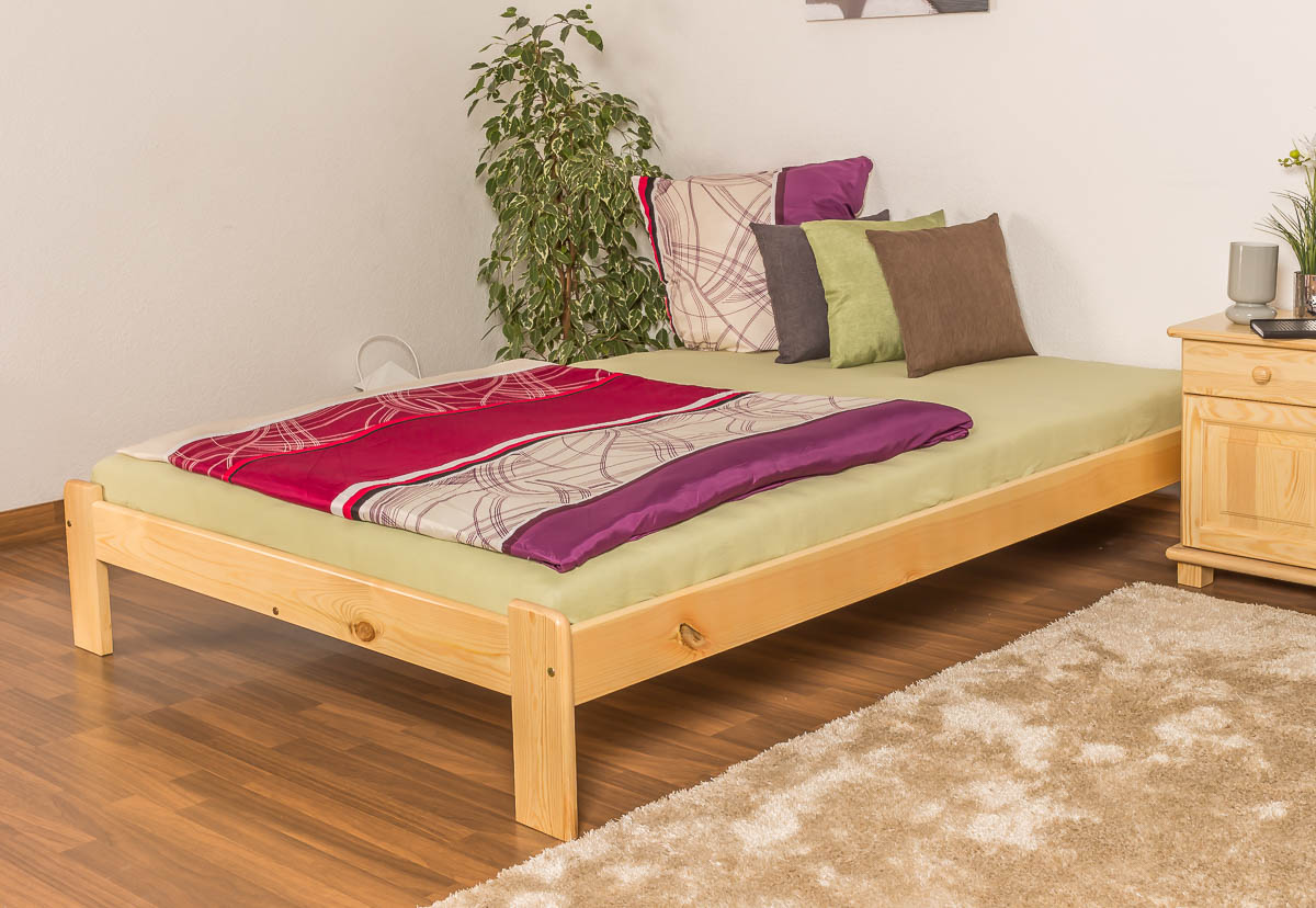 Steinershopping Single Bed Guest A10 Solid Pine Wood Clearly Varnished Incl Slatted Frame 140 X 200 Cm