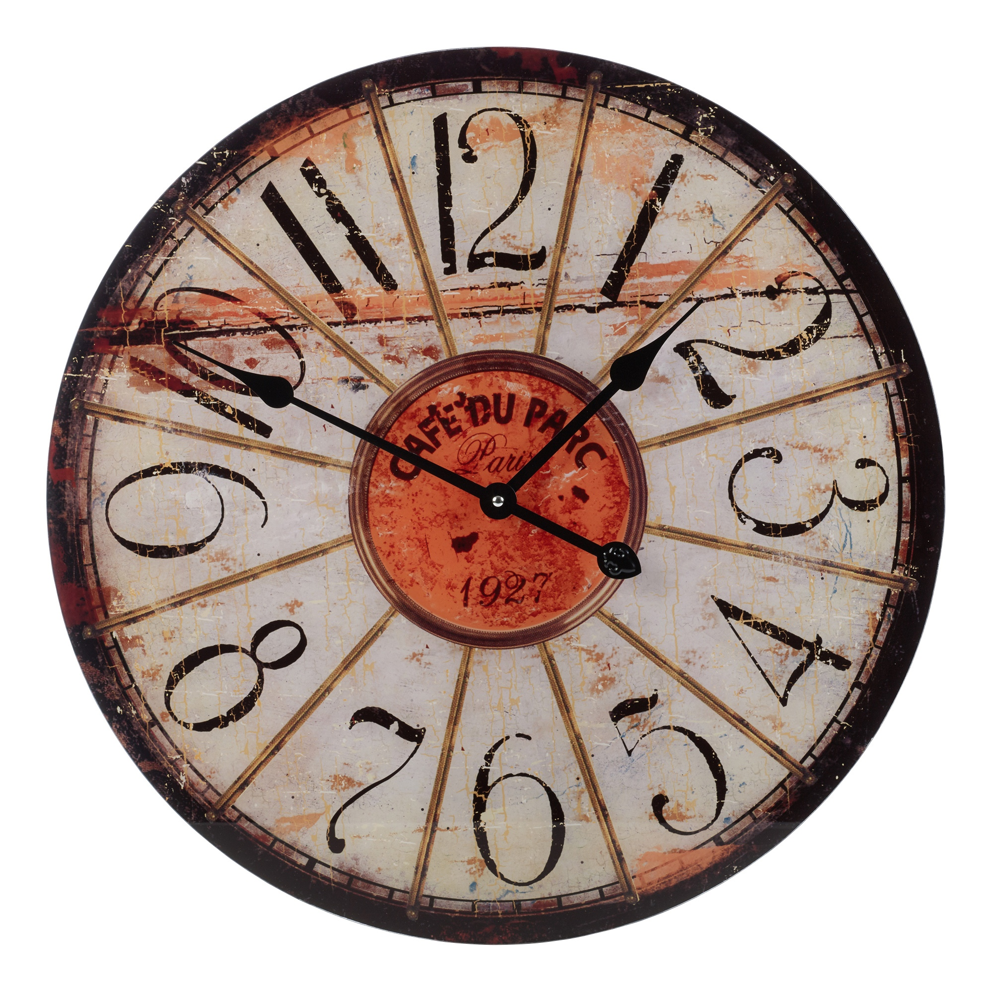 Wall Clocks Glass 57cm Large Round Glass Shabby Wall Clock Vintage Retro
