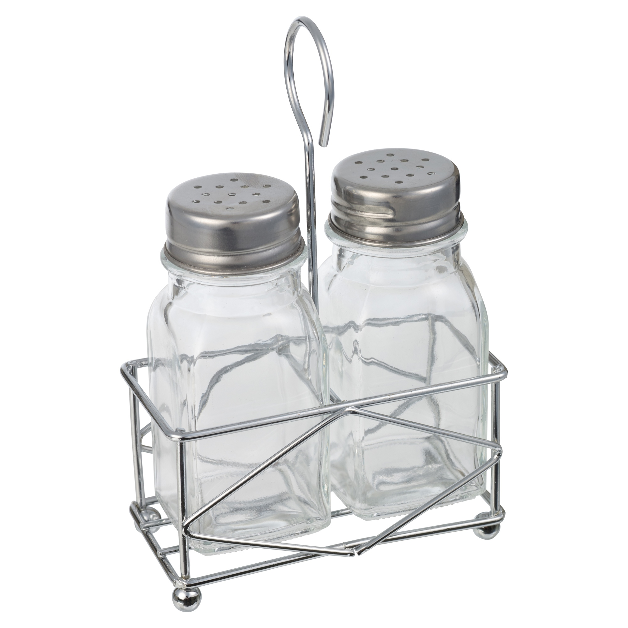 Salt Pepper Holder Glass Salt And Pepper Pot Set Dispenser W Stand Holder
