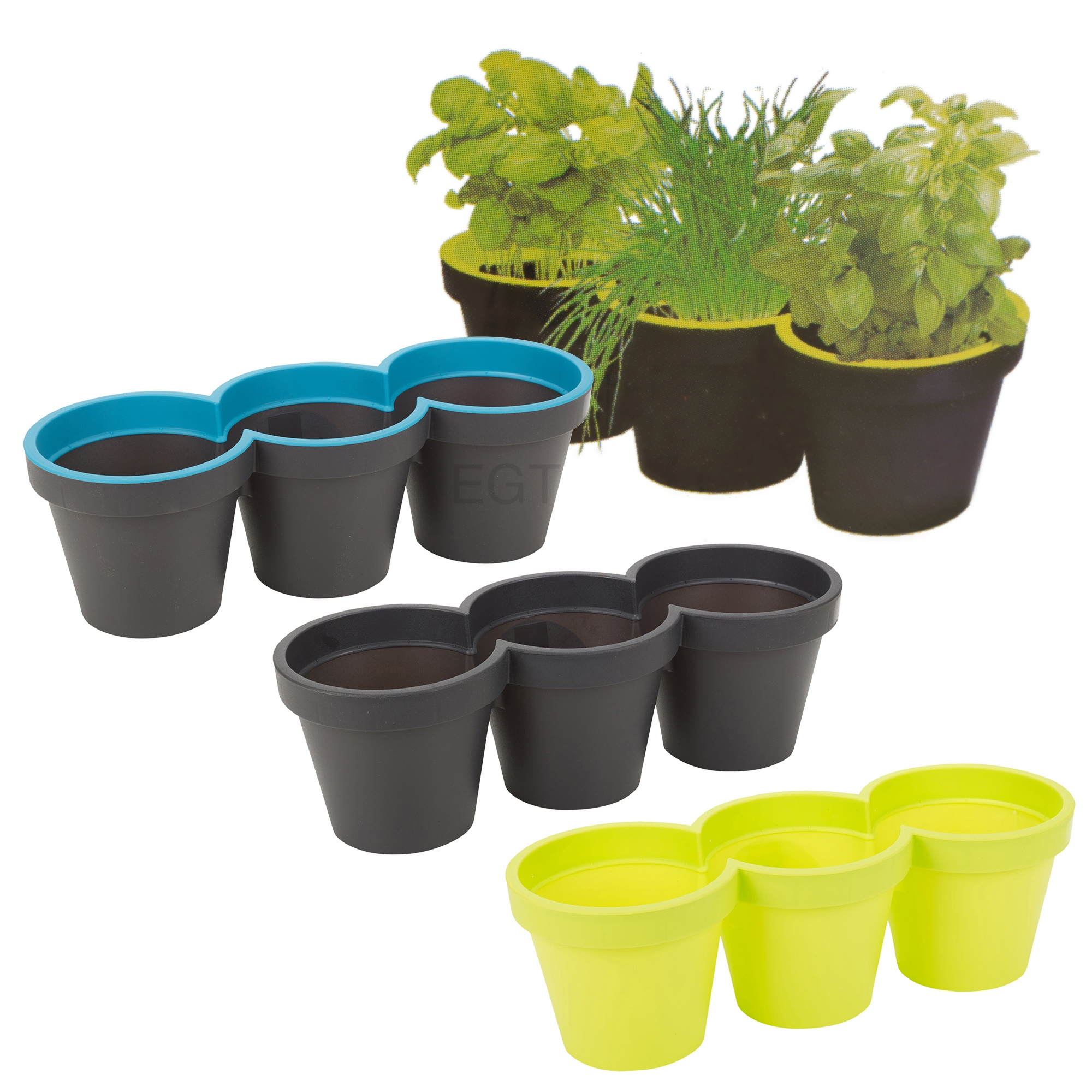 Herb Planter Pot 3 Section Plastic Plant Flower Pot Holder Planter Herb
