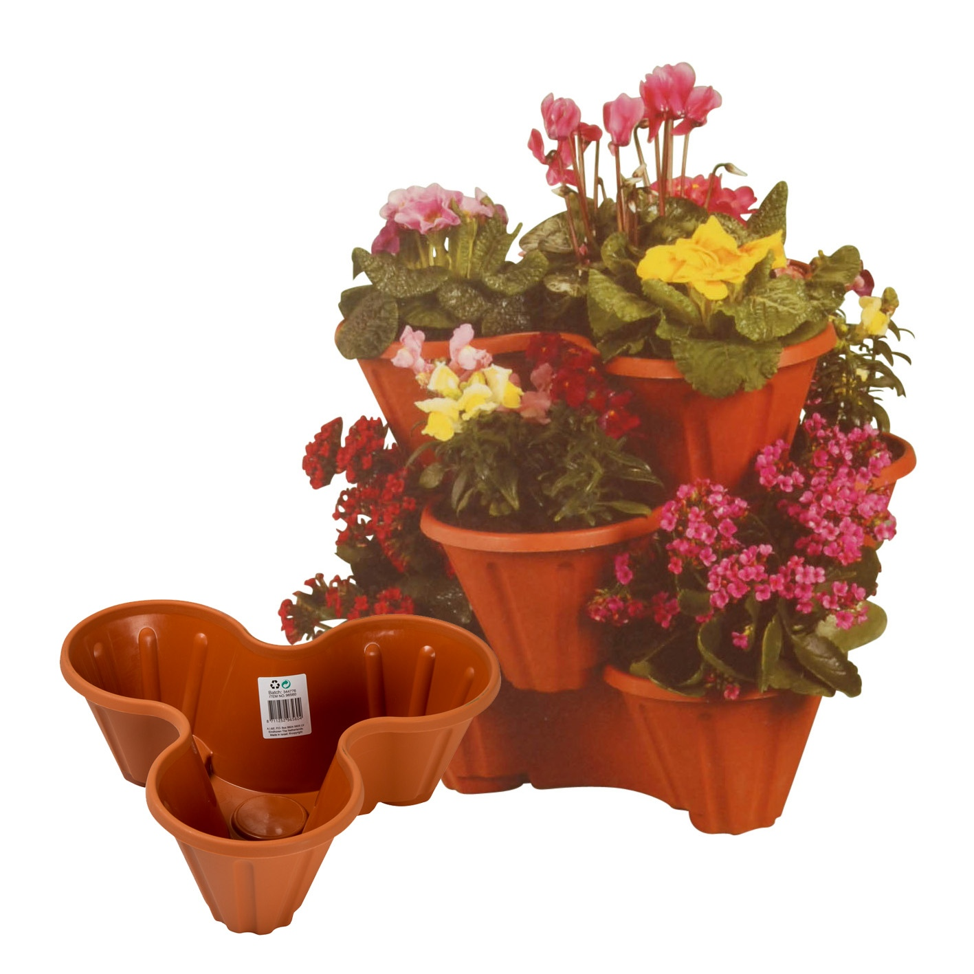 Herb Planter Pot Stackable Plastic 3 Plants Flower Pots Pot Holder