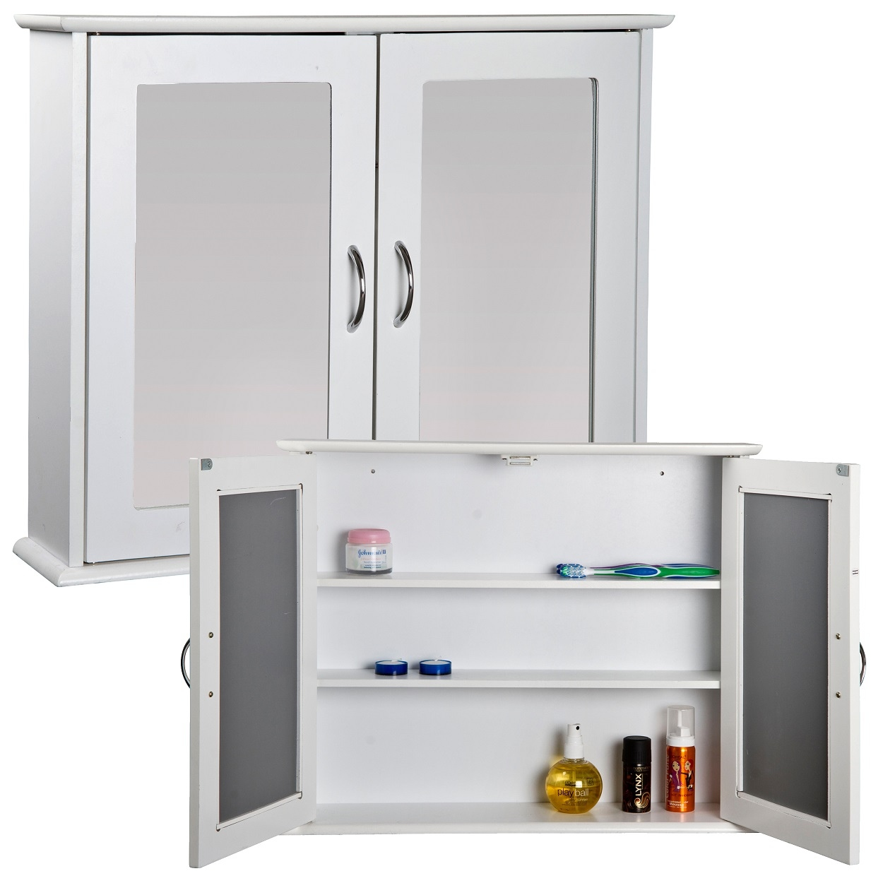 Bathroom Mirrored Cabinets White Mirrored Double Door Bathroom Cabinet Storage