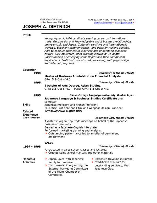 Professional Resume Templates Word Professional Microsoft Word