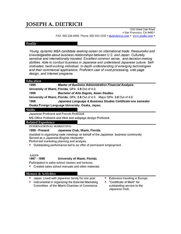 Functional Resume Template Canada  Create Professional Resumes