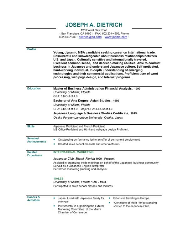 resume templates Picture tag EasyJob