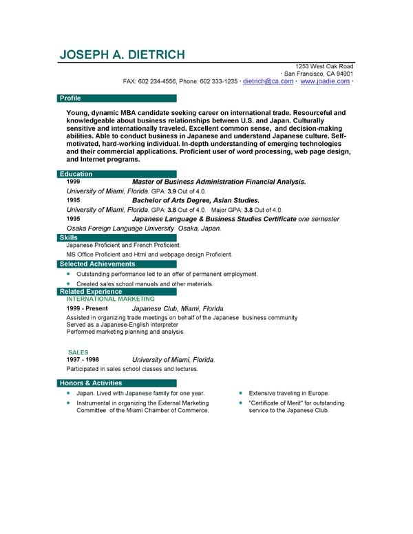 Format Resume Examples Fresher Resume Sample Marketing Resume  Good Resume Layouts