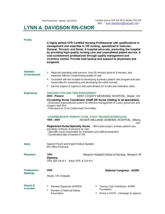 nurse resume samples 2015