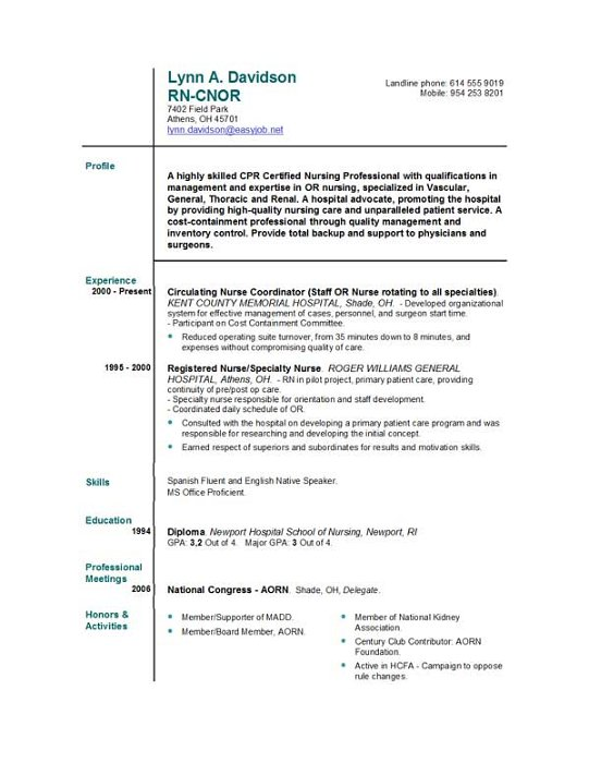 Nursing Resume Template Microsoft Word Nurse Format Bachelor Degree - Nursing Resume Templates For Microsoft Word