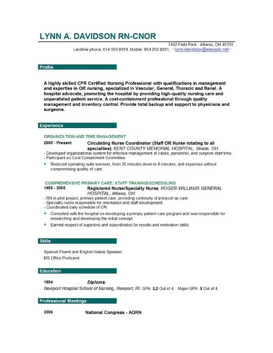 professional nurse resume writers - Ozilalmanoof - sample nurse resume