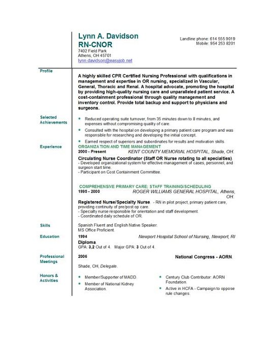 nursing professional resumes