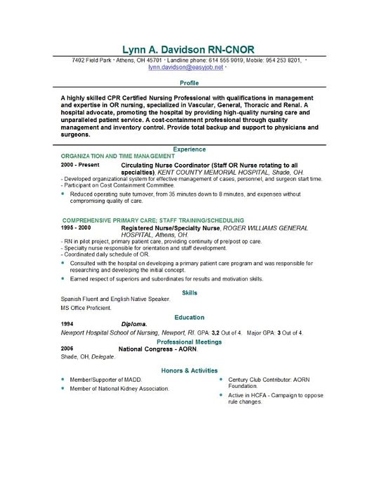 Or Nurse Resume Sample. Rn Resume Format Free Resume Example And