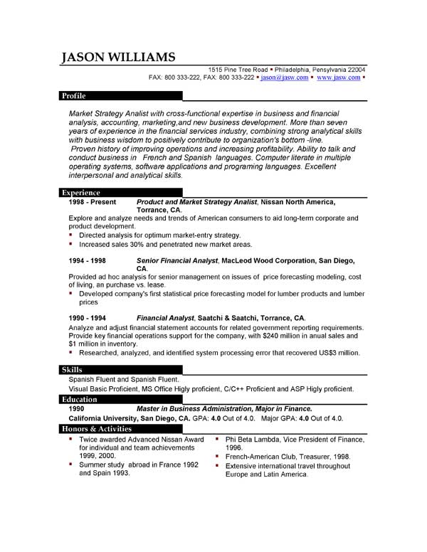 Professional Resume Format Examples - Examples of Resumes