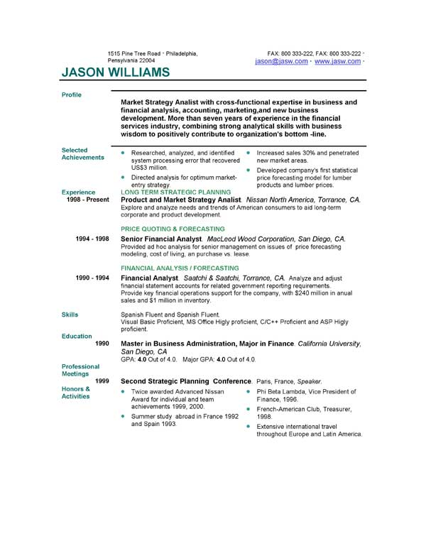 Very Best Resume Format