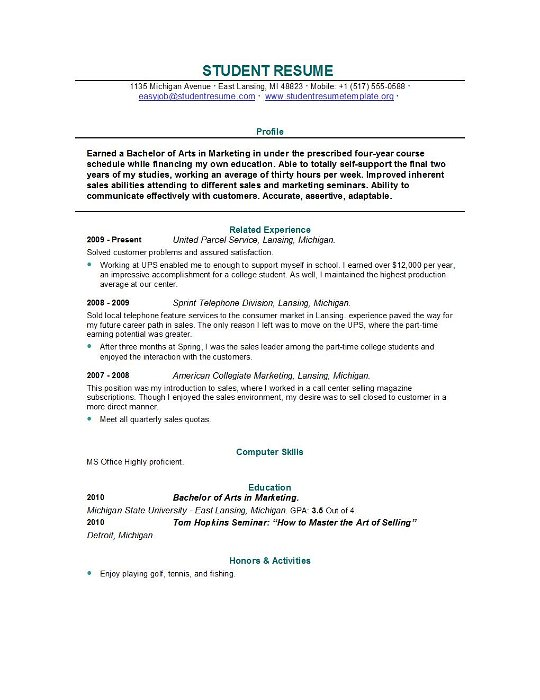 example of a resume for a recent college graduate