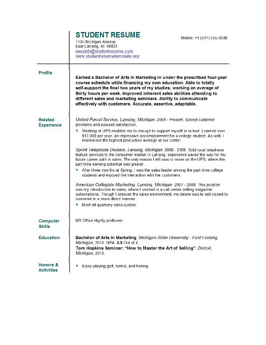 resume summary examples college students