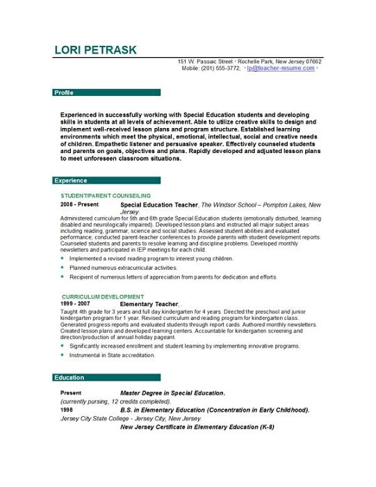 Teacher Resume Templates EasyJob