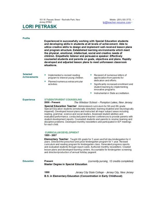 new teacher resume template xv-gimnazija
