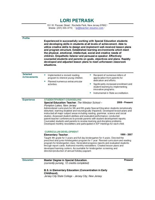 veteran teacher resume examples