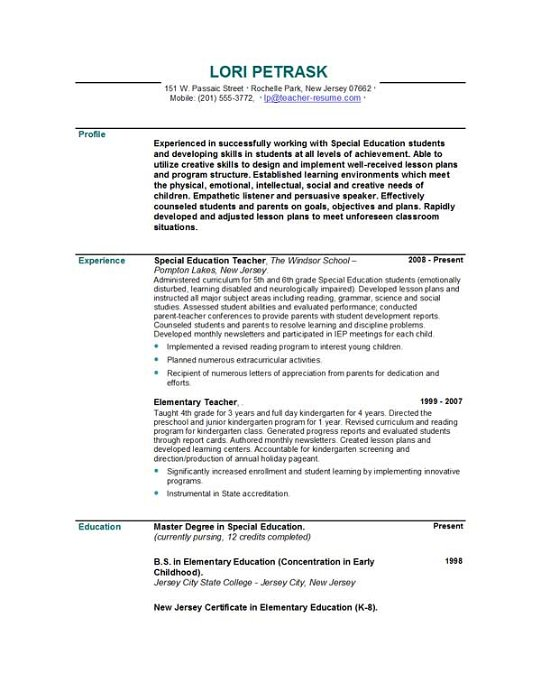 References For Education Resume