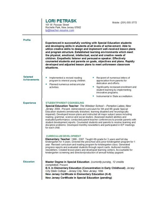 teacher templates for resume
