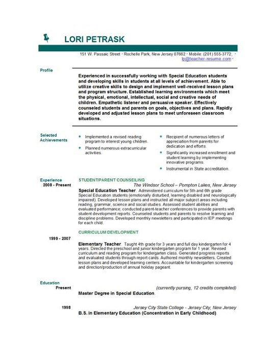 special education resume objective science teacher resume