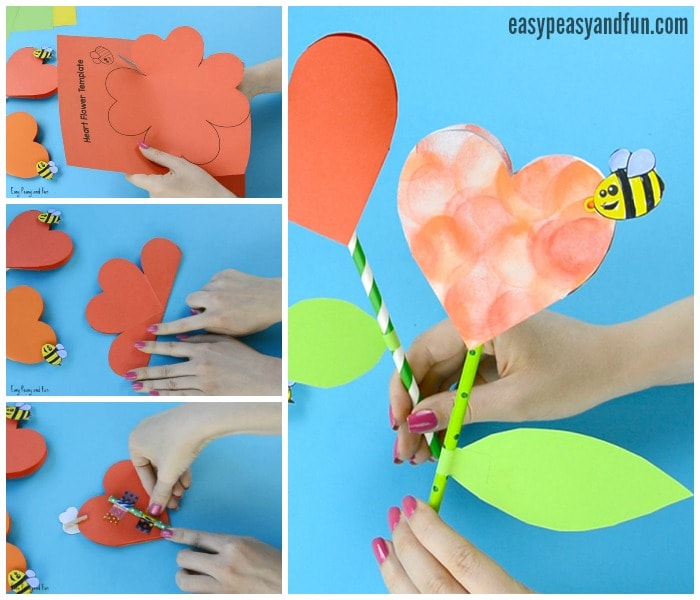 Calla Lily Flower Template Paper Heart Flower Craft With Template - Easy Peasy And Fun