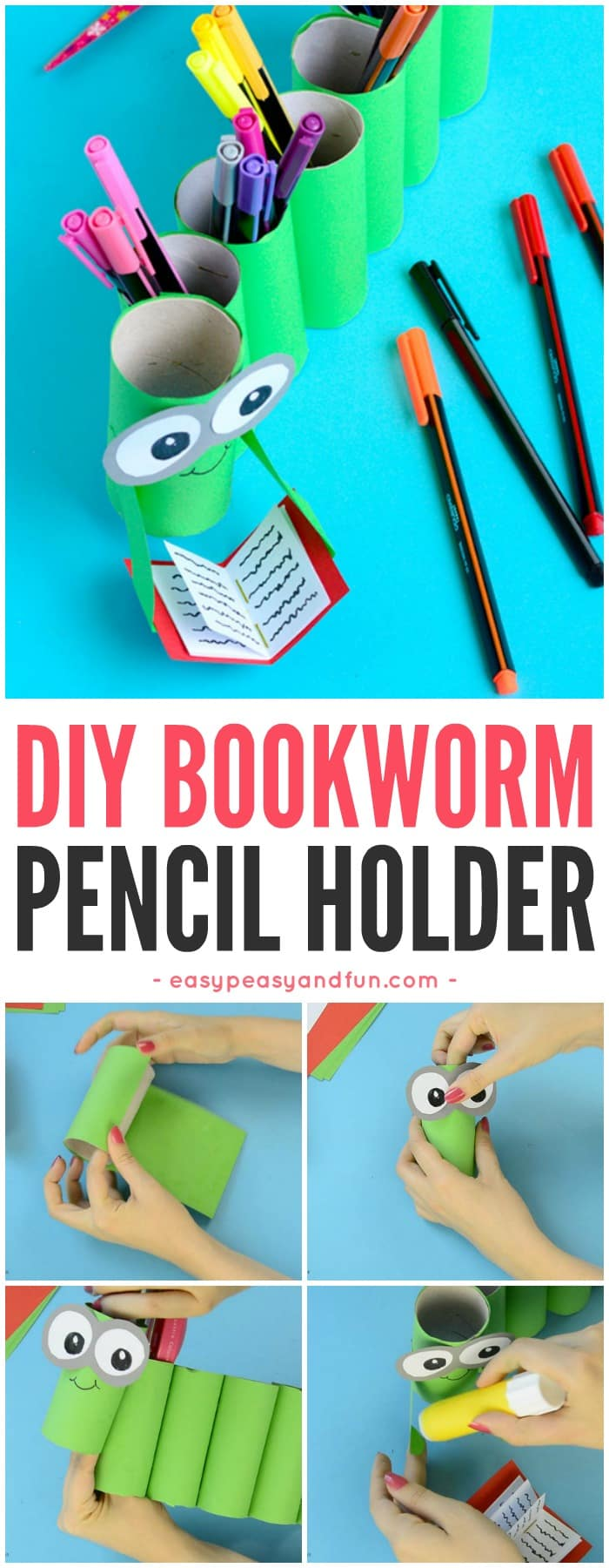 Homemade Pencil Holders Diy Bookworm Paper Roll Pencil Holder Easy Peasy And Fun
