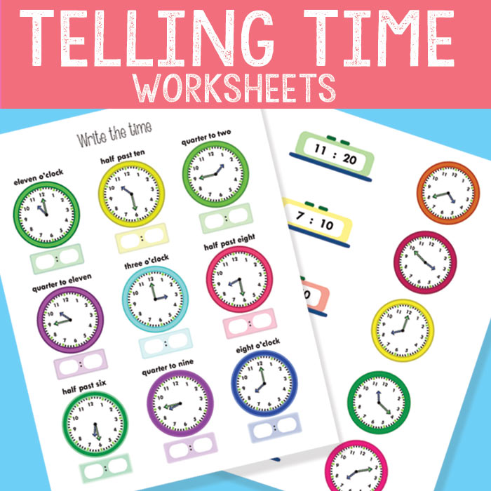 Telling Time Worksheets - Revision to The Quarter Hour - Easy Peasy