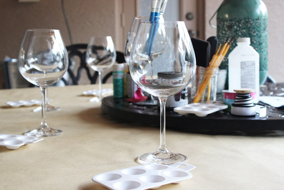 Getting ready to paint DIY painted wine glasses