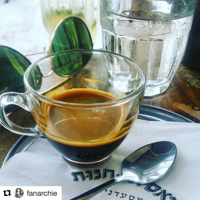 Great shot of a shot espresso telaviv tlv spoon