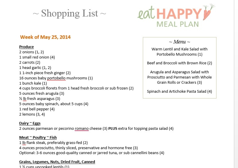 Next Week\u0027s Meal Plan Menu ~ Healthy Meal Plans - Eat Happy - meal plans