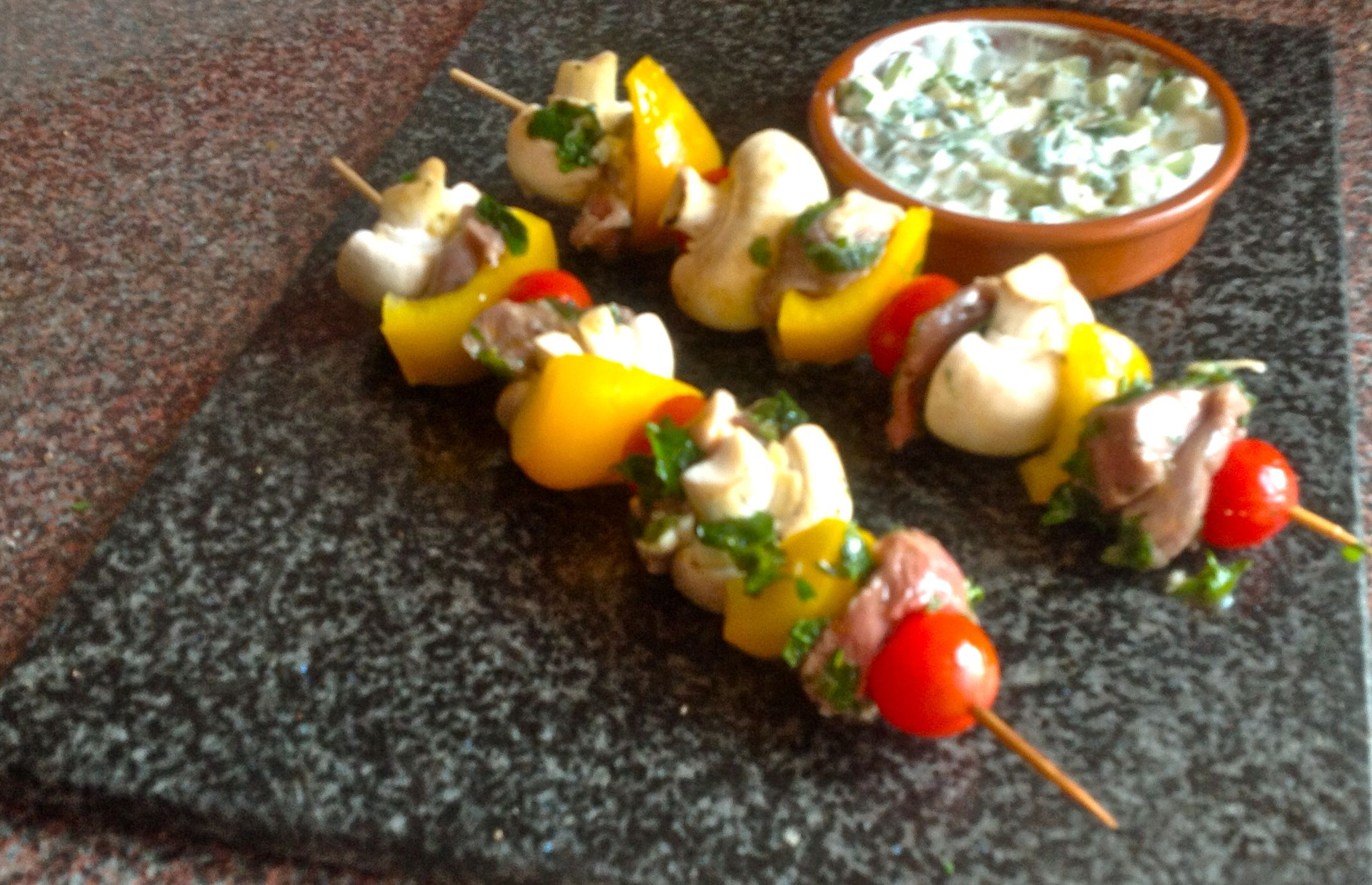 Lamb and vegetable skewers with cucumber raita | Eating Covent Garden