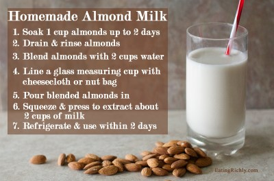 Homemade Almond Milk Recipe in a Juicer or Blender