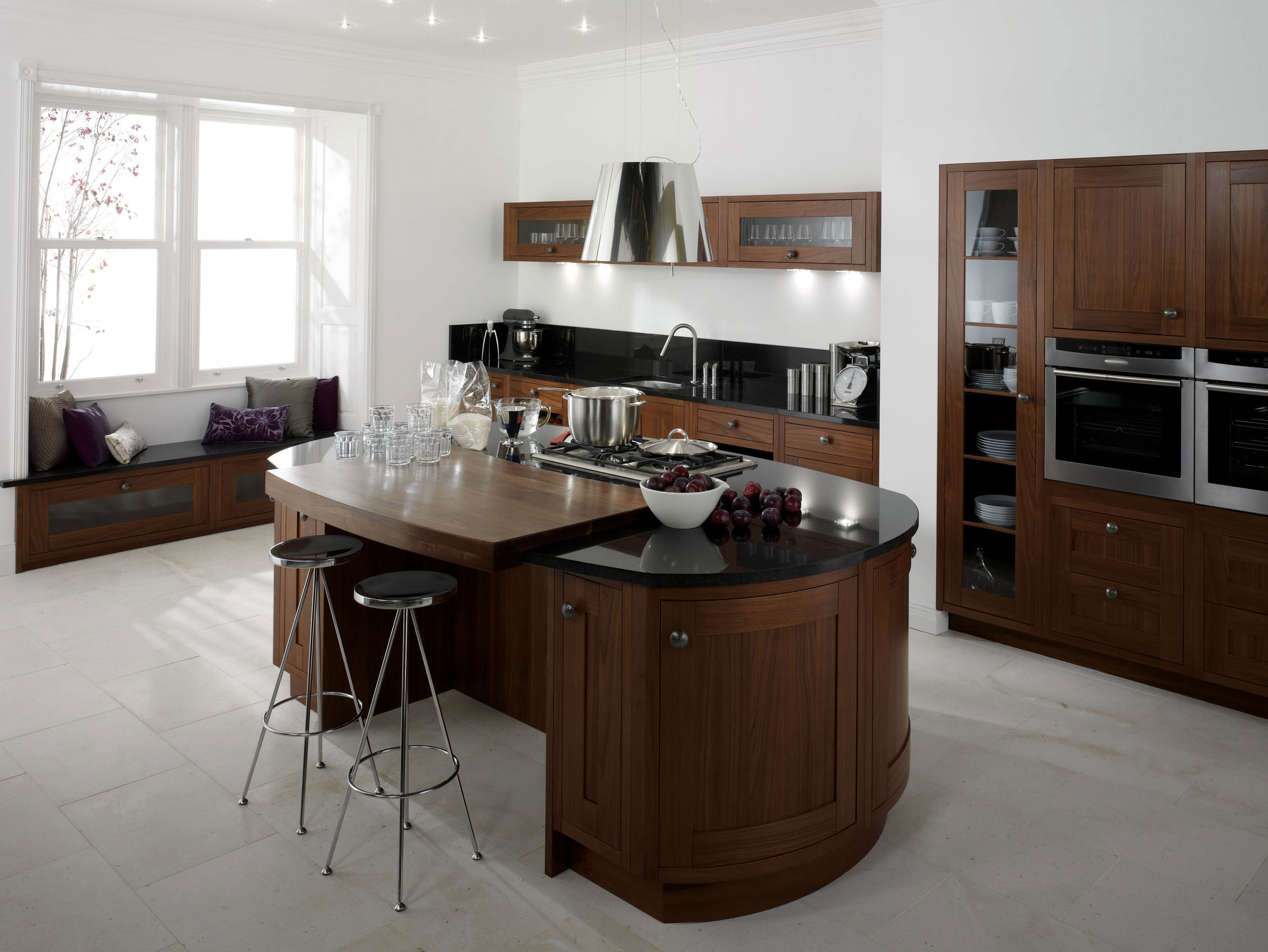 Kitchen Design With Round Island Milton Walnut From Eaton Kitchen Designs Wolverhampton