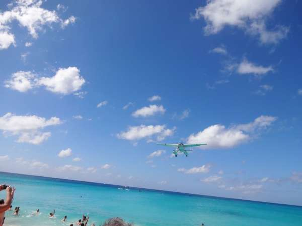 flying in over the beach