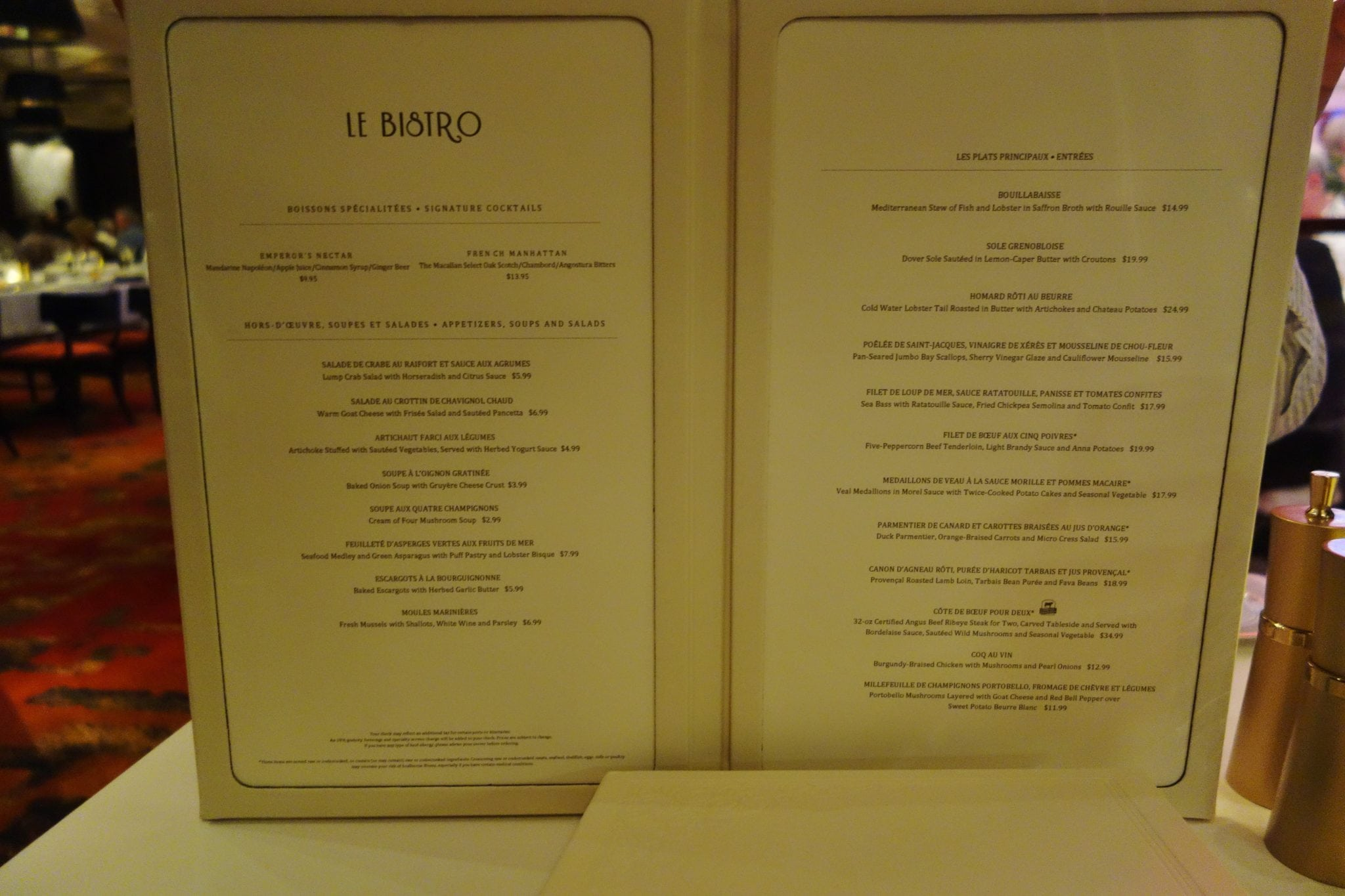 La Cucina Menu Ncl Bliss Le Bistro On Norwegian Escape Restaurant Review