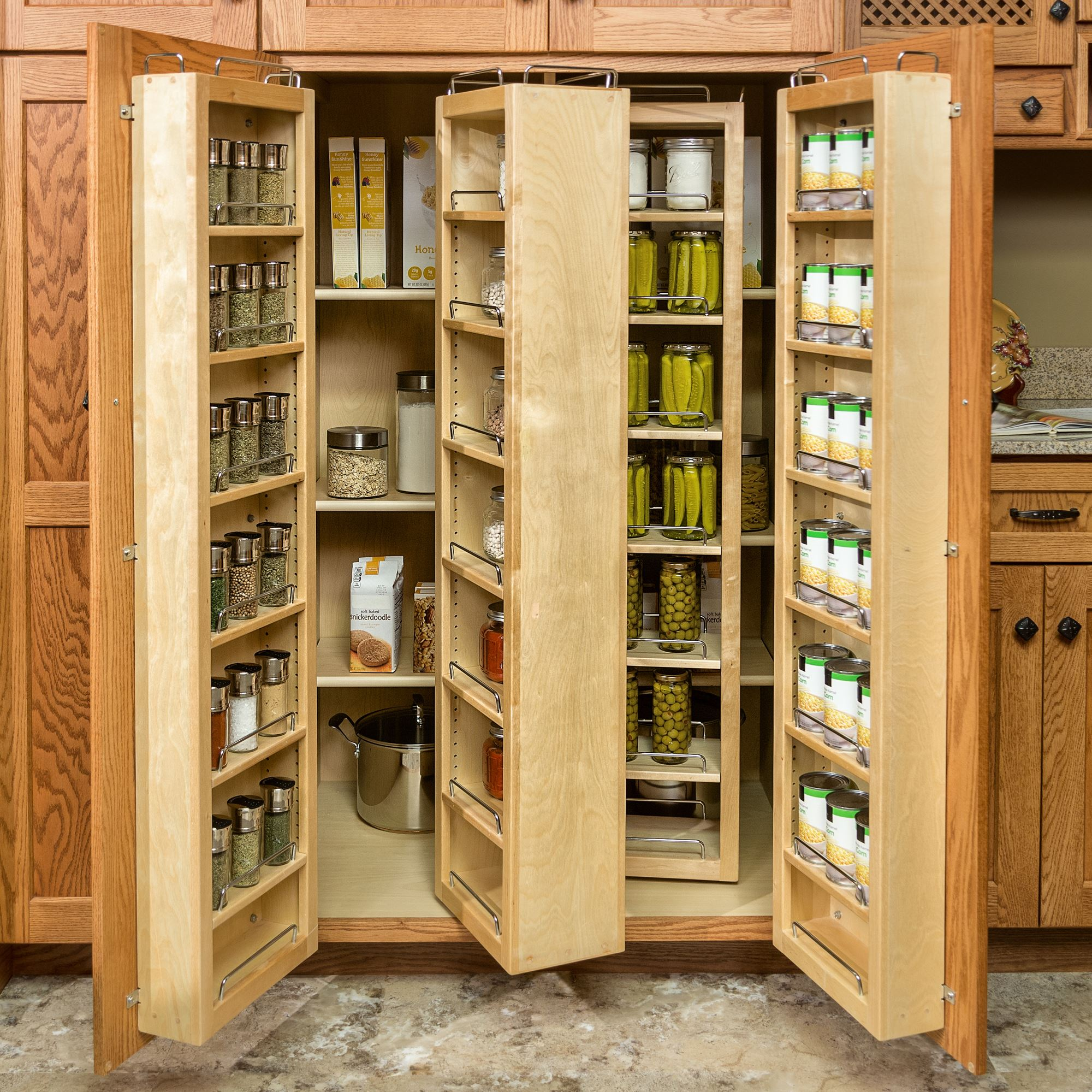 Inspiring Kitchen Pantry With Brown Wood Accent And Double